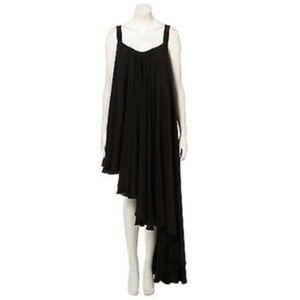 TOPSHOP BOUTIQUE BLACK SILK ASYMMETRIC MAXI DRESS